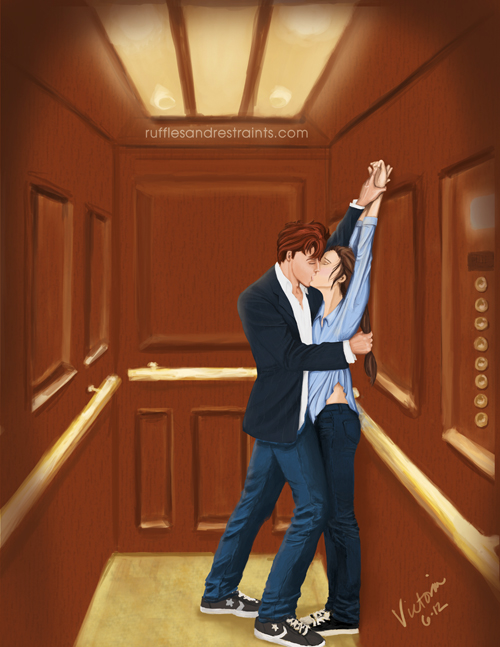 Christian and Ana in the elevator
