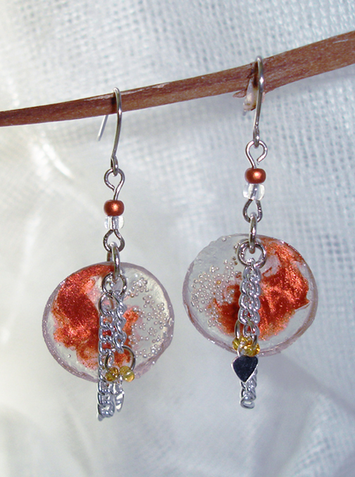 Chain and resin earrings 2