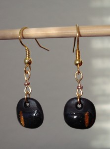 black and gold disc earrings