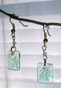 resin squares with blue glass beads and gold beads