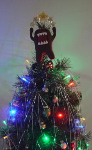 domo on top of christmas tree