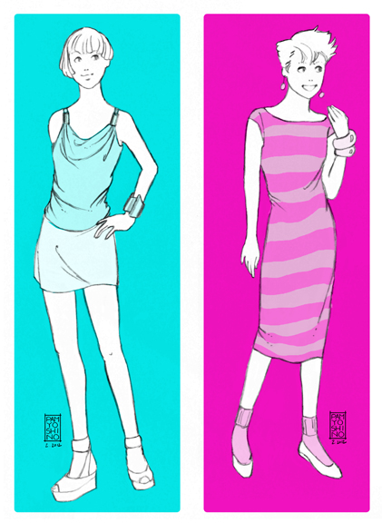 80s top and dress illos