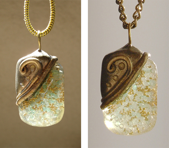 aqua and gold pendant front views