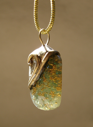 aqua and gold pendant right