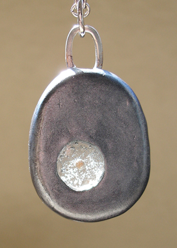 Round Silver Mustard Seed Pendant back