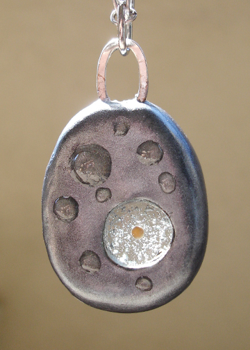 Round Silver Mustard Seed Pendant front