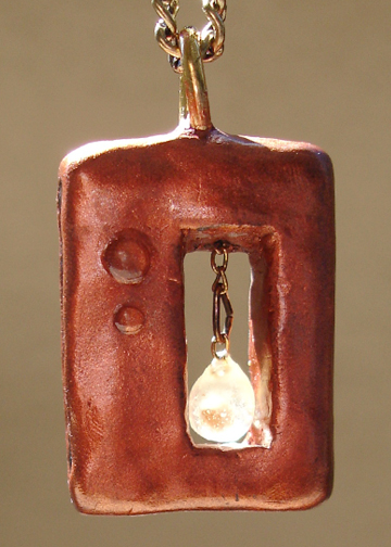 rectangular mustard seed pendant front
